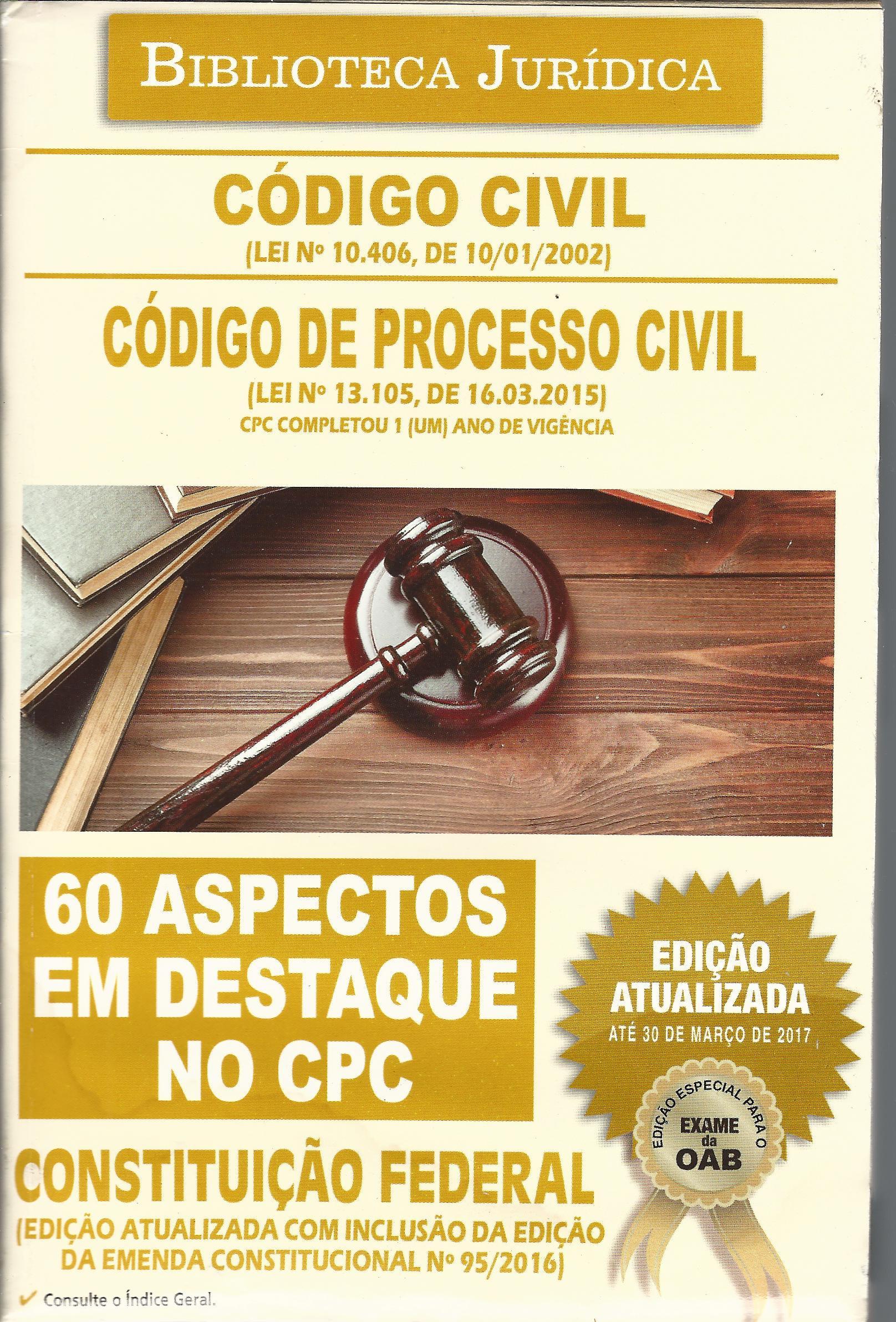 Capa do livro Código Civil / Código de Processo Civil - Col. Biblioteca Jurídica Vol. 4 - Ed. Atualizada 2017, Vários Autores